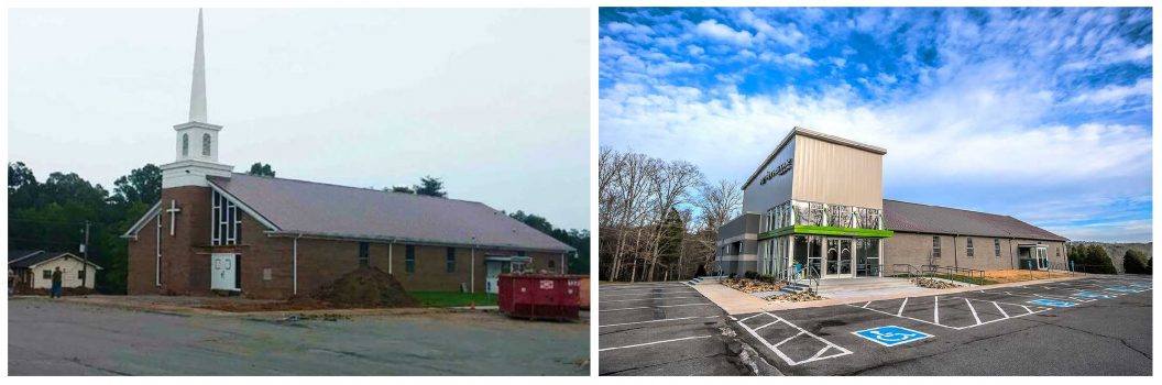 Before and After of Northstar Church South Knoxville Campus - Studio Four Design