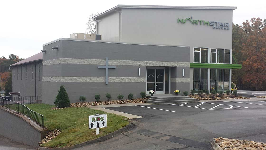 Exterior shot of Northstar Church in South Knoxville - Studio Four Design